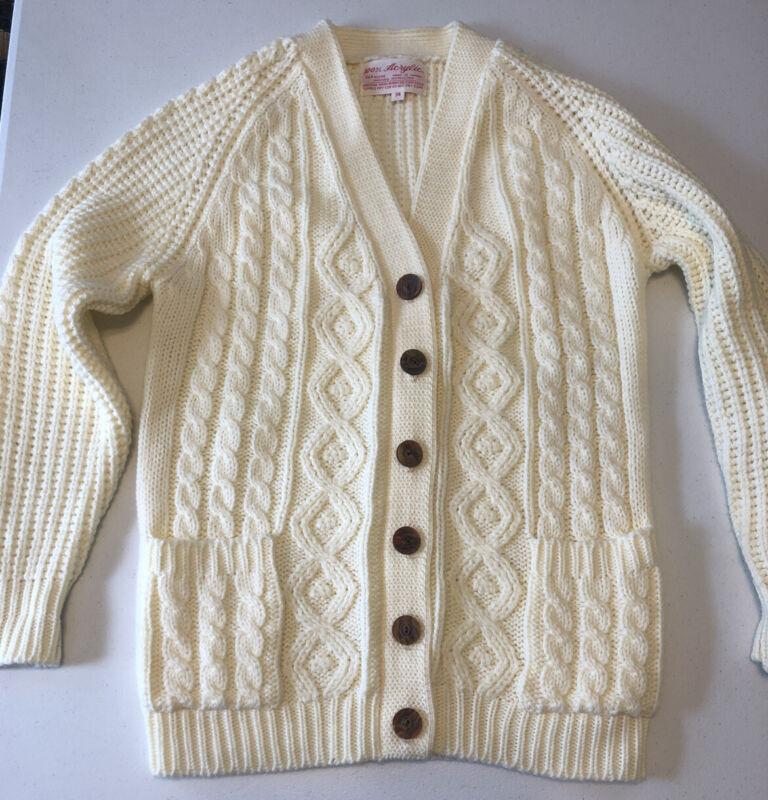 Vtg 70's Fisherman's Cardigan Sweater Cable Knit Men's 34 Raglan Acrylic Ivory