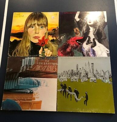 Lot of 4 JONI MITCHELL Vinyl LP Dog Eat Dog Miles Aisles Clouds HIssing Summer