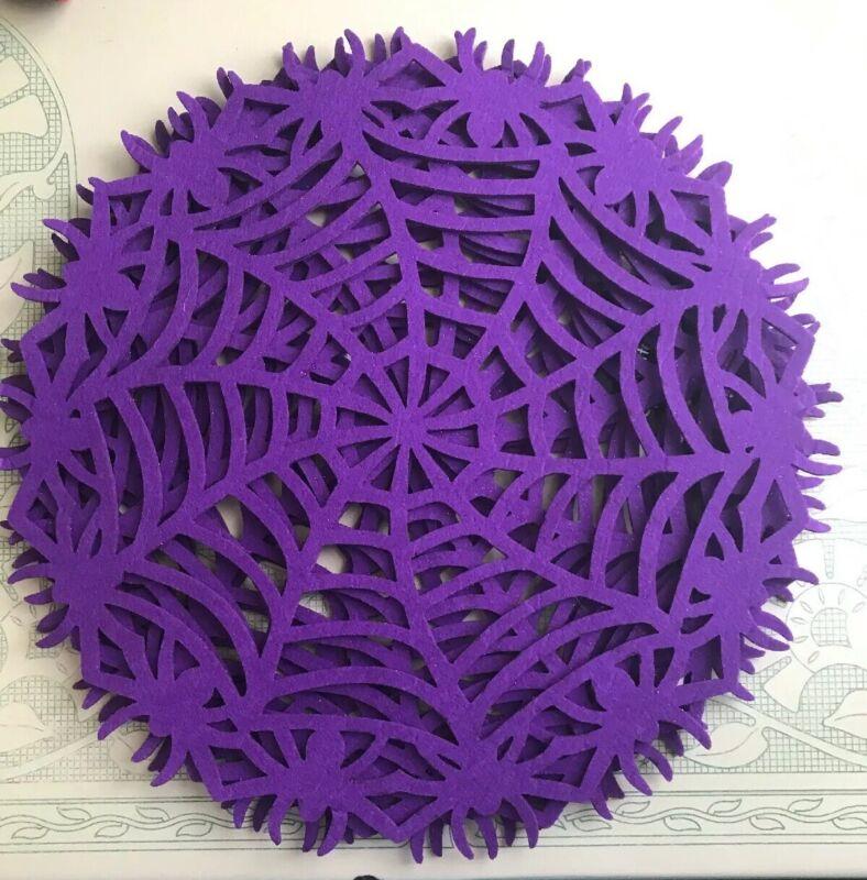 Halloween Set Of 4 Glitter Purple Placemats Spider Web