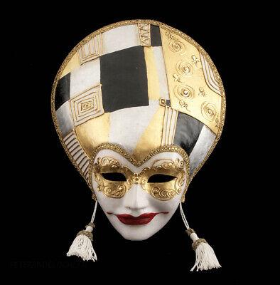Mask Venice Volto Liberty Art Déco Black Golden paper Mache 995