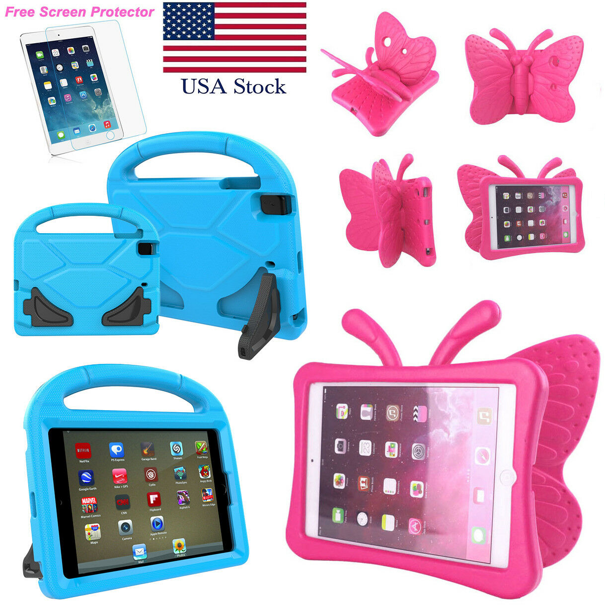 EVA Shockproof Kids Handle Foam Case Cover Stand For iPad Mi