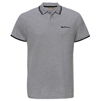 Ben Sherman Mens Tipped Pique Polo T-Shirt Short Sleeve Top Grey 0062104