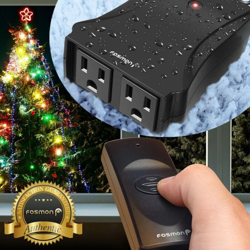 Weatherproof Outdoor Light Wireless Remote Control 2 Outlet Power Switch Plug