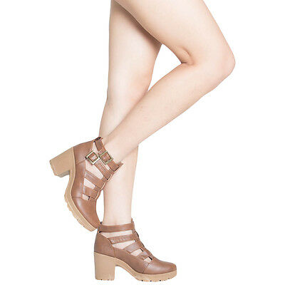 Chunky Heel Platform Booties (Chunky Heel Ankle Boots Platform Womens Booties Cut Out Strappy Black Tan Shoes)