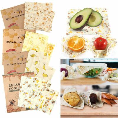 3 Pack Natural Reusable Beeswax Food Wrap Paper Bees Wax - Small Medium Large UK