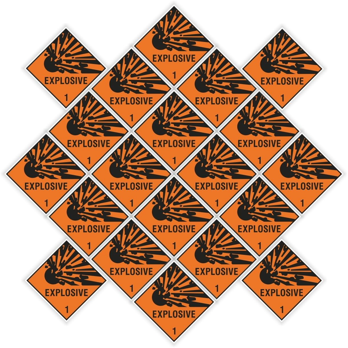 """20x EXPLOSIVE Explosion stickers each=25x25mm 1x1"""" warning laptop cell phone pc"""