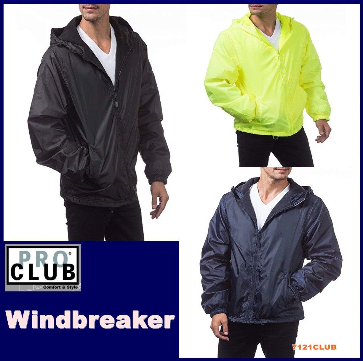 PRO CLUB WINDBREAKER MENS LIGHTWEIGHT WATERPROOF HOODED RAIN