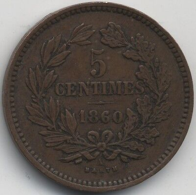 1860 A Luxembourg William III 5 Centimes***Collectors***Key date***