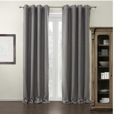 "NEW Set of 2 Modern Gray Thermal Black Out Curtains. Panels Are 72"" W X 102"" (Best Grey For Bedroom)"