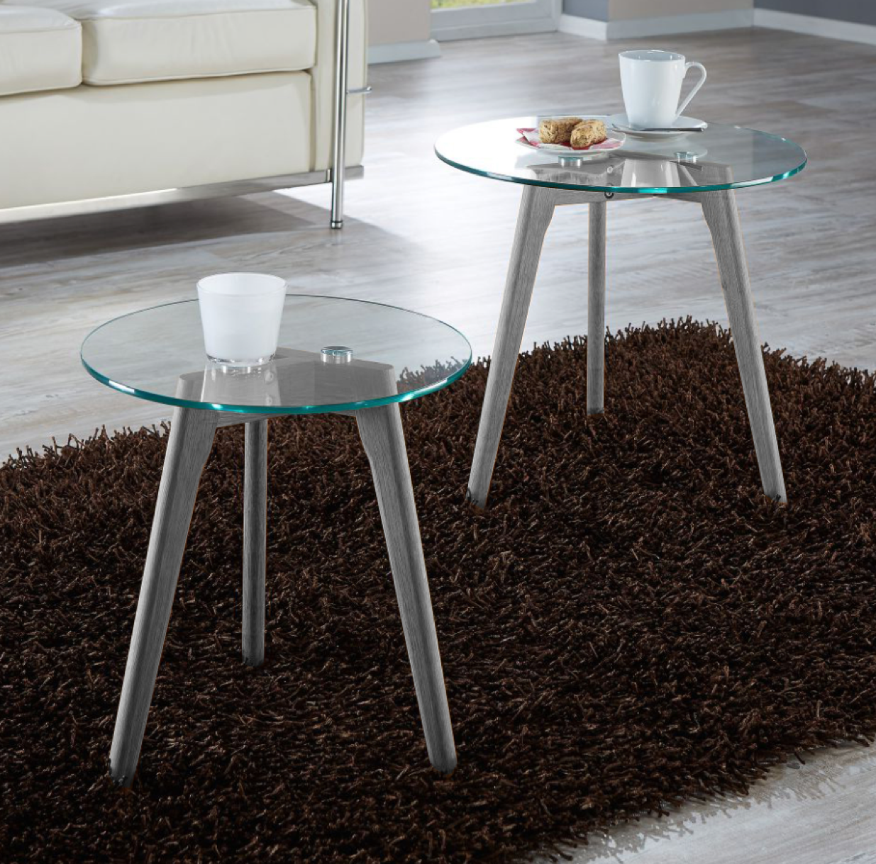 - Modern Nest Of Tables Round Coffee Table Set Of 2 With Glass Top