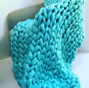 New! Giant knit merino wool blanket