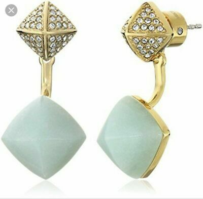 MICHAEL KORS Teal Rush Amazonite & CZ Double Pyramid Ear Jacket Earrings