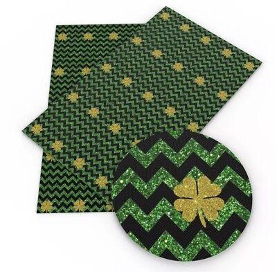 Green glitter shamrock St Patrick's day faux leather sheet /full or 1/2 sheet - Glitter Shamrocks