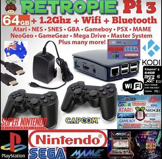 RETRO PI 64GB 5000+ GAMES SEGA ARCADE MAME NES ATARI GBA KODI KIT
