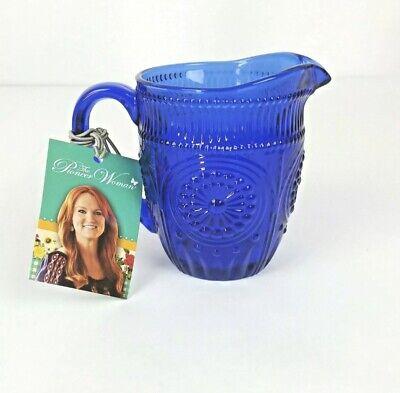 Pioneer Woman Adeline Glass Cobalt Blue Creamer Pitcher -