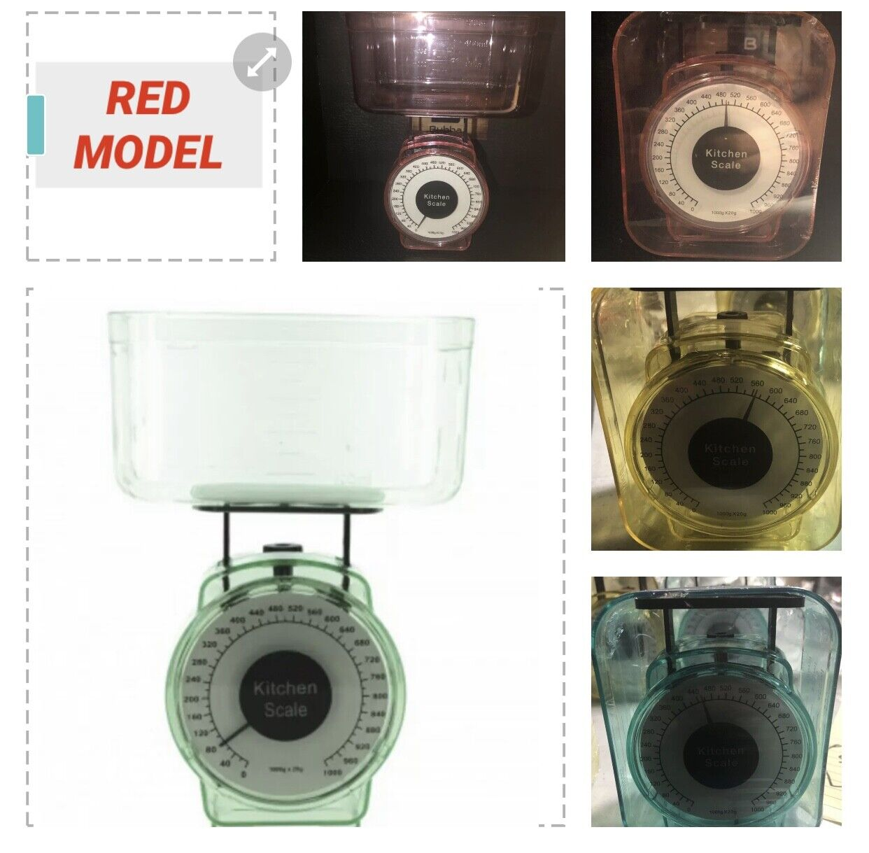 red mechanical scale accurate 1000 grams w