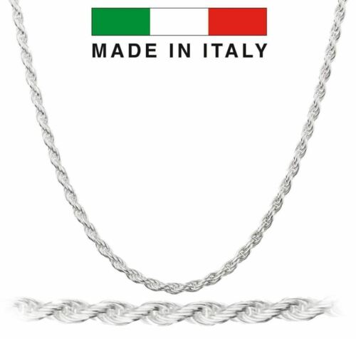 REAL SOLID 925 STERLING SILVER 14K RHODIUM FINISH ROPE CHAIN 3 MM 16 18 20 ITALY
