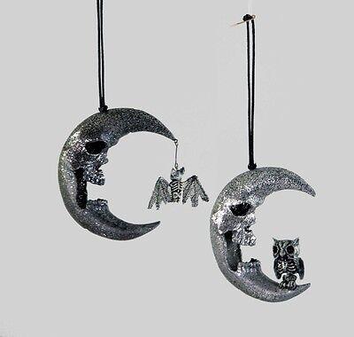 Halloween Skull Face Moon Ornaments w Bat Owl - Katherine's Collection 28-728602