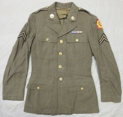WW2 Vintage US ARMY UNIFORM COAT, Ports of Embarkation, Medical Brass & Ribbons