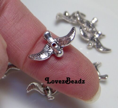 12 Silver Metal Spacer Beads-Adorable Tiny Little Birds-$30 ORDERS SHIP FOR FREE