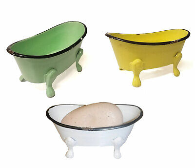 Vintage Style Clawfoot Tub Shaped Metal Soap Dish Weathered Finish Clawfoot Tub Soap Dishes