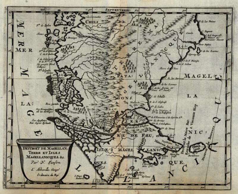 Straits of Magellan Tierra del Fuego Patagona Argentina 1699 Sanson rare map