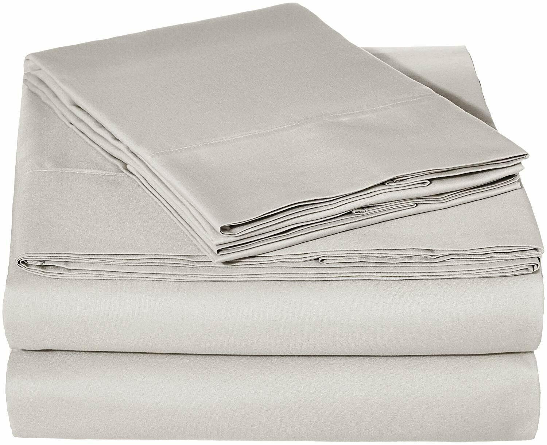 AmazonBasics Microfiber Sheet Set - Full, Light Grey