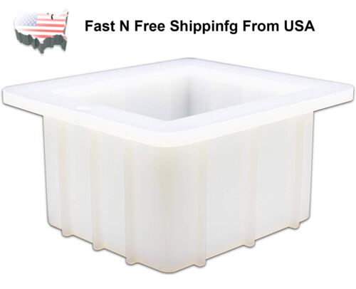 """4"""" Square Handmade Small Bar White Mould Silicone Loaf Soap Mold US Stock"""