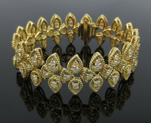 Vintage Hammerman Brothers 5.50ct Diamond & 18k Yellow Gold Rope Bracelet