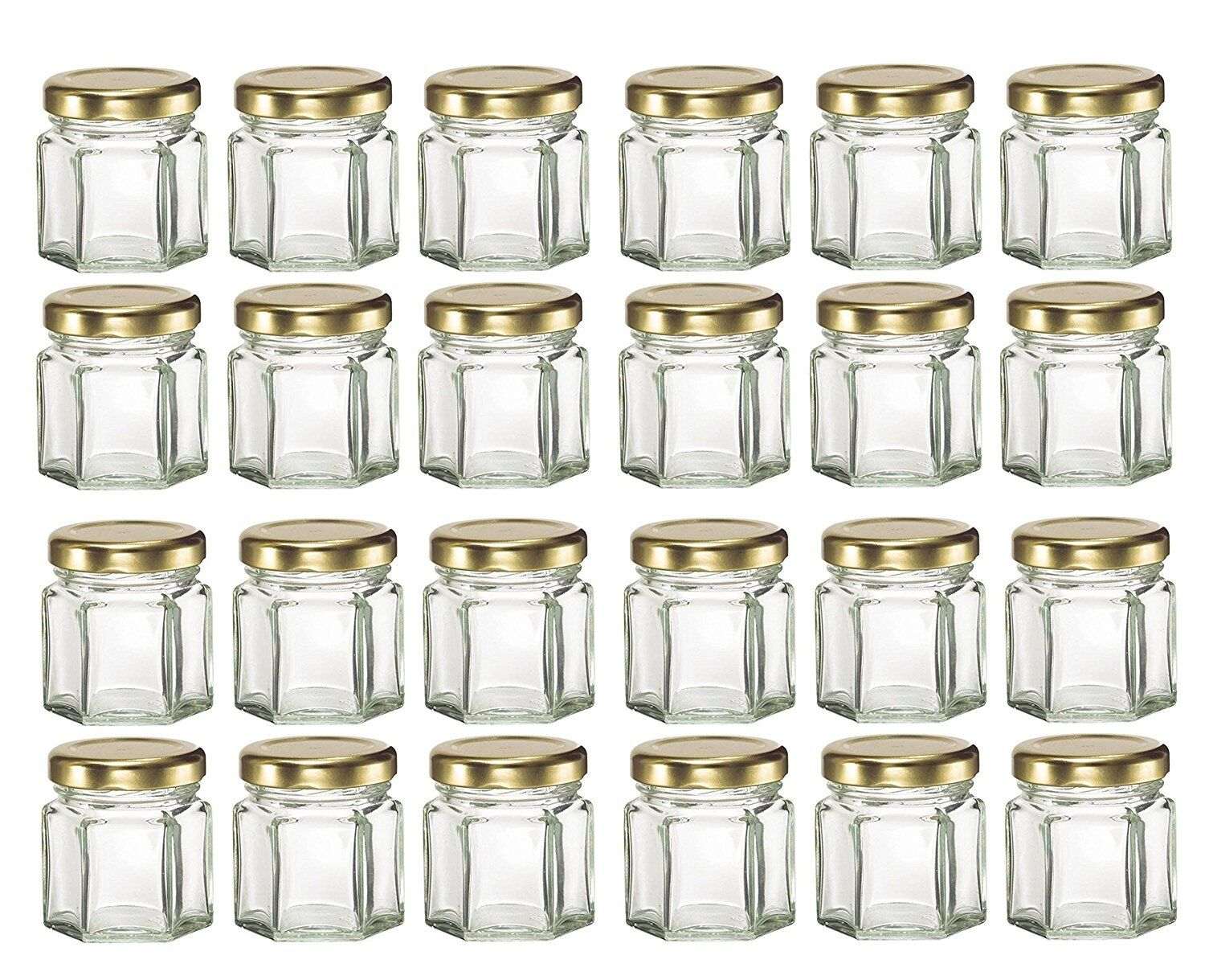 Nakpunar 24 pcs 1.5 oz Mini Hexagon Glass Jars with Gold Pla