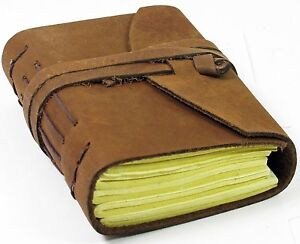 Handcrafted Finest Leather Notebook Journal A6 with Handmade Paper 4