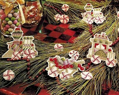 Set 3 Christmas Candy Cane Train Ornament Plastic Canvas Cross Stitch Charts