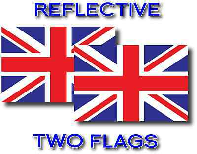 2x REFLECTIVE UNITED KINGDOM Flag Decal 3M Stickers BRITISH UNION JACK USA MADE (Jack Flag Stickers)