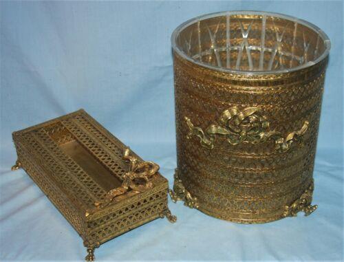 Vintage Stylebuilt Gold Ormolu Wastebasket & Matching Tissue Box Holder