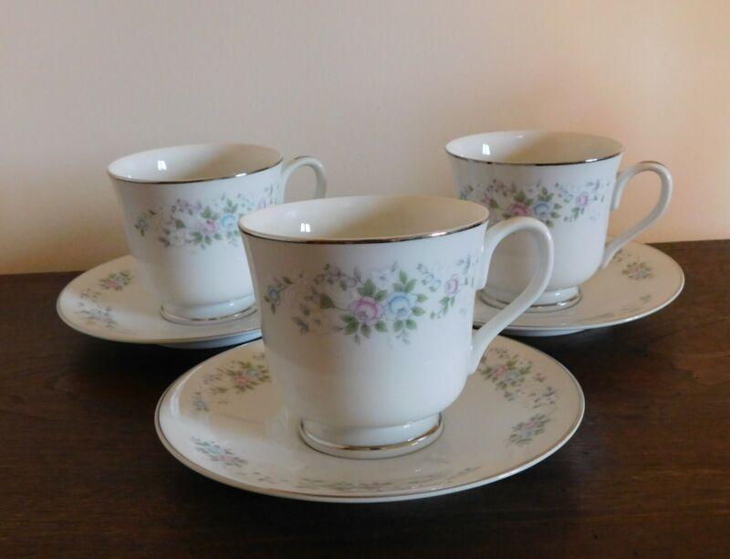 3 Coffee Tea Cup & Saucer Sets -  CARLTON CORSAGE 481 JAPAN  Flowers