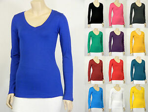 Cotton-T-SHIRTS-V-NECK-Long-Sleeve-Women-Junior-Solid-Top-S-XL-SJ2022
