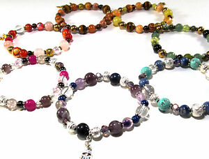 CHAKRA-BALANCE-BRACELETS-Womens-Fashion-Reiki-Energy-Healing-Gemstone-Crystal