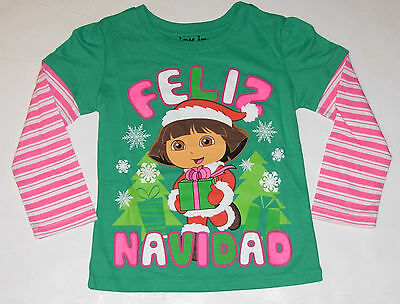Dora Long Sleeve Christmas T-shirt, Size 2tor 3t, W/tag