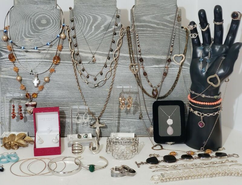 Sterling Silver 925 Jewelry Lot Necklaces, Bracelet, Earrings, Rings, 502 grams.