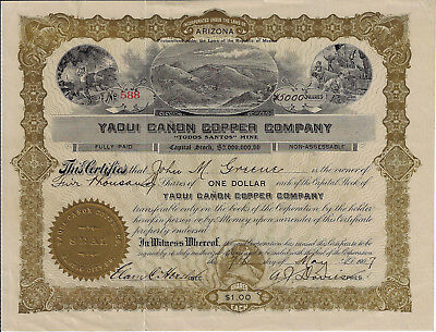 Mexico 1907 Yaqui Canon Copper Co Stock Certificate Arizona Todos Santos Mine