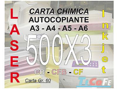 Carta CHIMICA autocopiante A3 500x3 * CB CFB CF * carbone ddt ricevute stampa