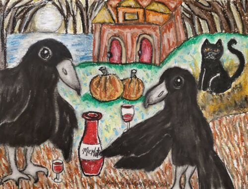 Crow Drinking Merlot Wine Raven Bird Art Print 11 x 14 Collectiblle Artist KSams