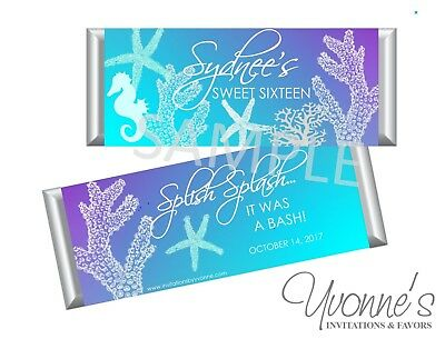 Blue Sweet 16 Themes (Sea-Themed / Ocean Under Water Candy Bar Wrappers-Sweet 16-Birthday- Bat)
