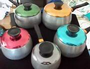 RETRO VINTAGE SET OF 5 ALUMINIUM SAUCEPANS WITH ANODISED LIDS Worrigee Nowra-Bomaderry Preview