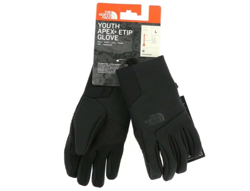 The North Face 173713 Boys Kids Apex + Etip Winter Gloves Black Size Large