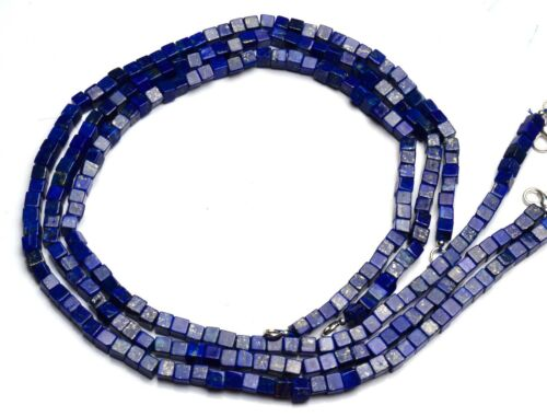 """Natural Gem Afghan Lapis Lazuli 5MM Size Smooth Cube Shape Beads Necklace 17"""""""
