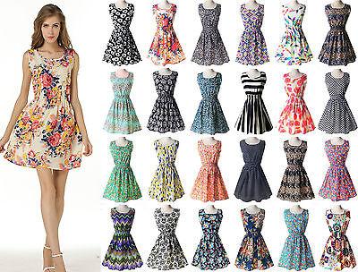 Women Summer Dress Slim Floral Print Chiffon Short Beach Mini Dress UK Size 8-16