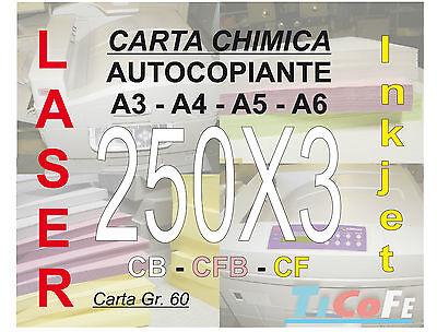 Carta CHIMICA autocopiante A4 250x3 * CB CFB CF * carbone ddt ricevute stampa