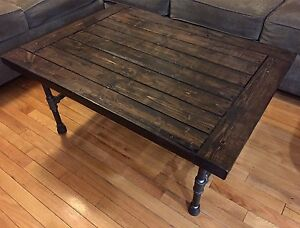 Rustic / Industrial Solid Wood & Iron Pipe Coffee Table
