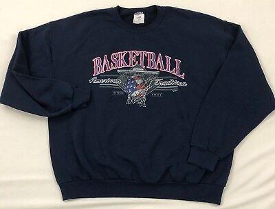 L/S Crew Neck Sweatshirt Basketball American Tradition Black Men's Size XL